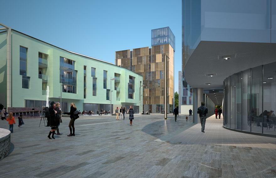 Vista della nuova piazza